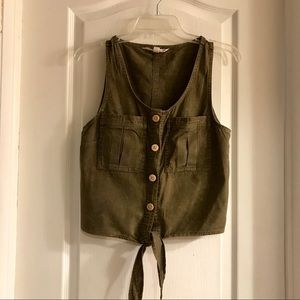 Rustic Acid Washed Green Blouse